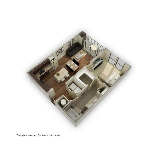 3800-A8 3D Floor Plan | 1 Bedroom with 1 Bath | 678 Square Feet | 3800 Main | Apartment Homes