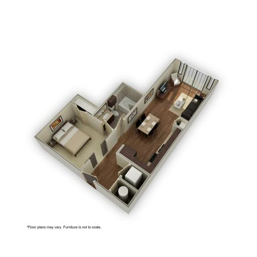 3800-e5 3D Floor Plan | 1 Bedroom with 1 Bath | 621 Square Feet | 3800 Main | Apartment Homes