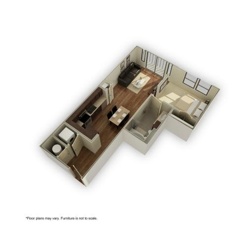 3800-e4 3D Floor Plan | 1 Bedroom with 1 Bath | 621 Square Feet | 3800 Main | Apartment Homes