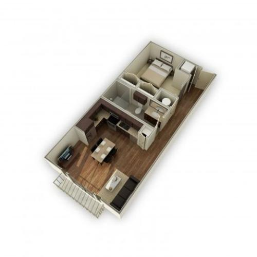 3800-A1 3D Floor Plan | 1 Bedroom with 1 Bath | 649 Square Feet | 3800 Main | Apartment Homes