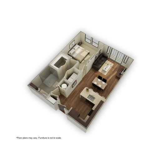 880-A3A 3D Floor Plan | 1 Bedroom with 1 Bath | 782 Square Feet | 3800 Main | Apartment Homes