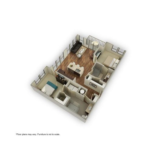 3800-B4 3D Floor Plan | 2 Bedroom with 2 Bath | 1090 Square Feet | 3800 Main | Apartment Homes