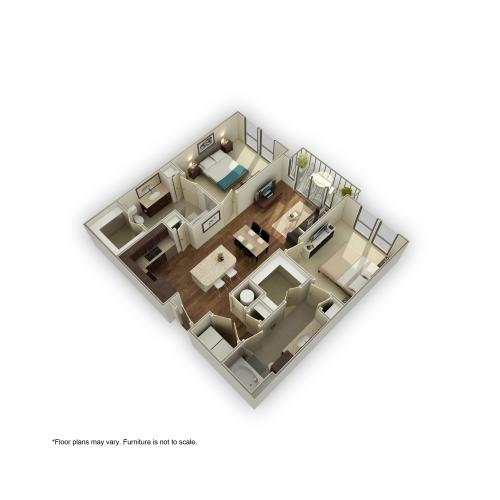3800-B1 3D Floor Plan | 2 Bedroom with 2 Bath | 1069 Square Feet | 3800 Main | Apartment Homes