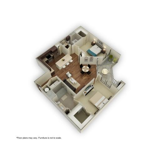 880-B3 3D Floor Plan | 2 Bedroom with 2 Bath | 1246 Square Feet | 3800 Main | Apartment Homes