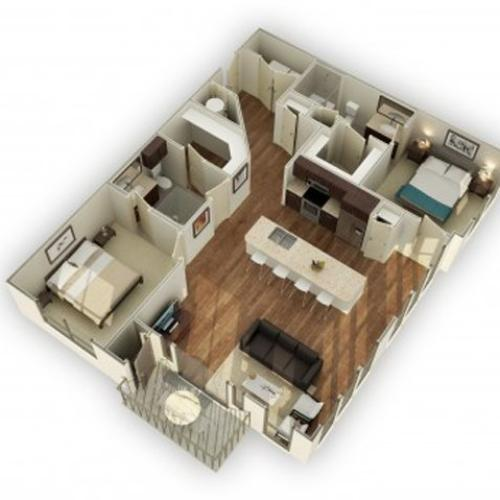880-B2B 3D Floor Plan | 2 Bedroom with 2 Bath | 1246 Square Feet | 3800 Main | Apartment Homes