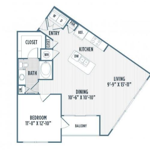 880-A2 2D Floor Plan | 1 Bedroom with 1 Bath | 904 Square Feet | 3800 Main | Apartment Homes