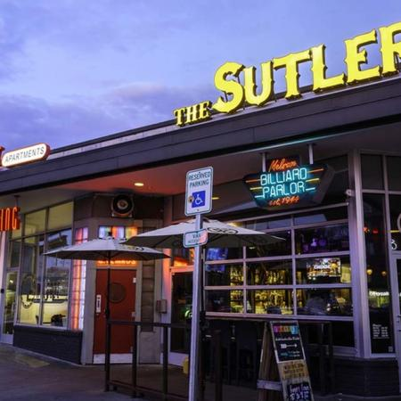 View of The Sutler, Showing Entrance and Leasing Office Adjacent at The Melrose Apartments