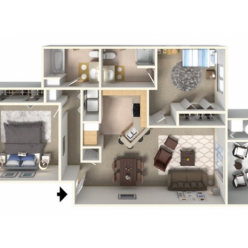 Panoramic B Floor Plan | 2 Bedroom with 2 Bath | 1045 Square Feet | Clearview | Apartment Homes