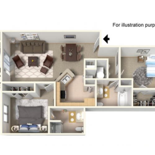 Panoramic A Floor Plan | 2 Bedroom with 2 Bath | 1100 Square Feet | Clearview | Apartment Homes