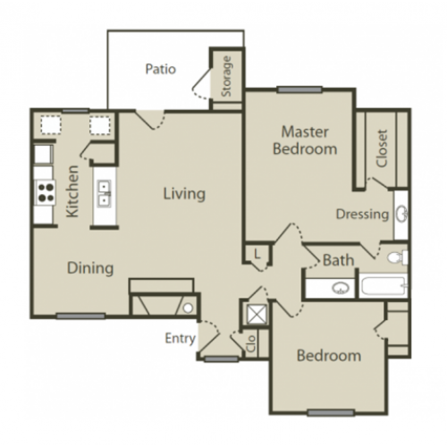 E1 Floor Plan | 2 Bedroom with 1 Bath | 996 Square Feet | Solara | Apartment Homes