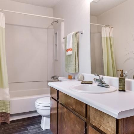 View of Classic Apartment Interior, Showing Bathroom with Single Vanity, Toilet, and Tub at Plantations at Haywood Apartments