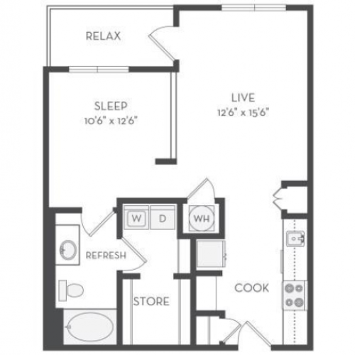 The Whitney Floor Plan | 1 Bedroom with 1 Bath | 726 - 1,600 Square Feet | Cottonwood Westside | Apartment Homes