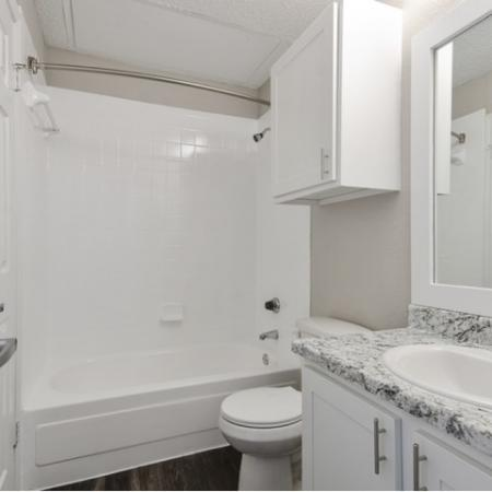 View of Renovated Apartment Interior, Showing Bathroom with Plank Flooring, Storage, Single Vanity and Oversized Tub at Spring Pointe Apartments