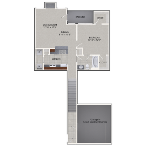 A2 Floor Plan | 1 Bedroom with 1 Bath | 924 Square Feet | Cottonwood Ridgeview | Apartment Homes