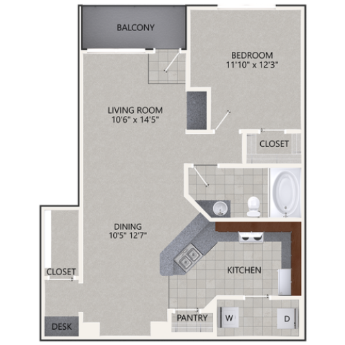 A3 Floor Plan | 1 Bedroom with 1 Bath | 827 Square Feet | Cottonwood Ridgeview | Apartment Homes
