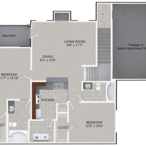 B2 Floor Plan | 2 Bedroom with 2 Bath | 1184 Square Feet | Cottonwood Ridgeview | Apartment Homes