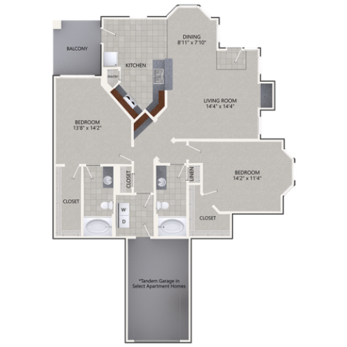 B3 Floor Plan | 2 Bedroom with 2 Bath | 1361 Square Feet | Cottonwood Ridgeview | Apartment Homes