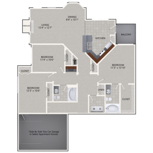 C2G Floor Plan | 3 Bedroom with 2 Bath | 1596 Square Feet | Cottonwood Ridgeview | Apartment Homes