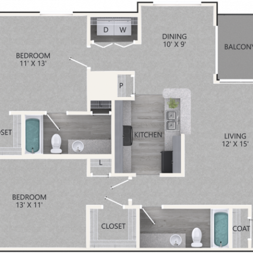 Renovated Redwood Floor Plan | 2 Bedroom with 2 Bath | 1047 Square Feet | Waterford Creek | Apartment Homes