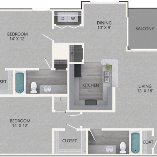 Sycamore Floor Plan | 2 Bedroom with 2 Bath | 1137 Square Feet | Waterford Creek | Apartment Homes