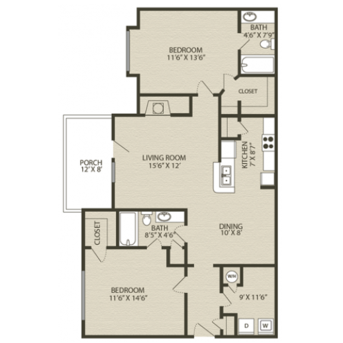 Renovated Mansfield II Floor Plan | 2 Bedroom with 2 Bath | 1231 Square Feet | Plantations at Haywood | Apartment Homes