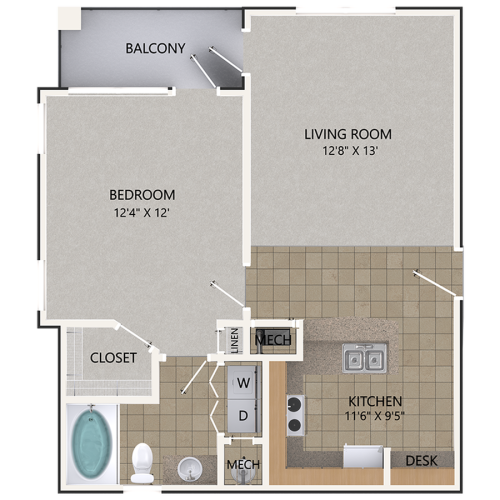 Image of the Scarlet Oak floorplan, an open concept 1 bedroom, 1 bathroom 756 sq. ft. apartment at Cottonwood Reserve