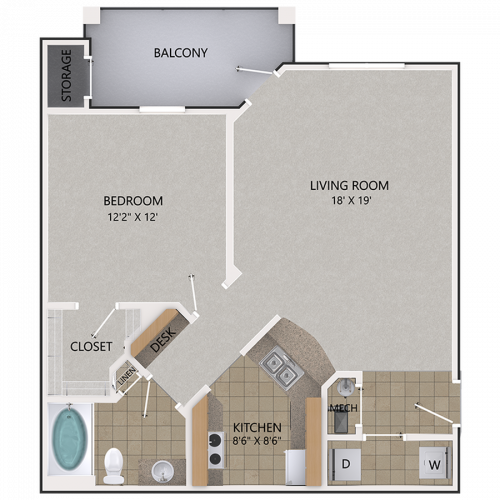 Image of the Sassafras Oak floorplan, an open concept 1 bedroom, 1 bathroom 818 sq. ft. apartment at Cottonwood Reserve