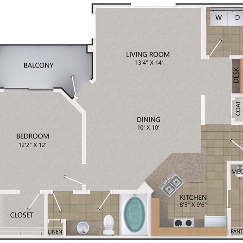 Image of the Persimmon Oak floorplan, an open concept 1 bedroom, 1 bathroom 915 sq. ft. apartment at Cottonwood Reserve