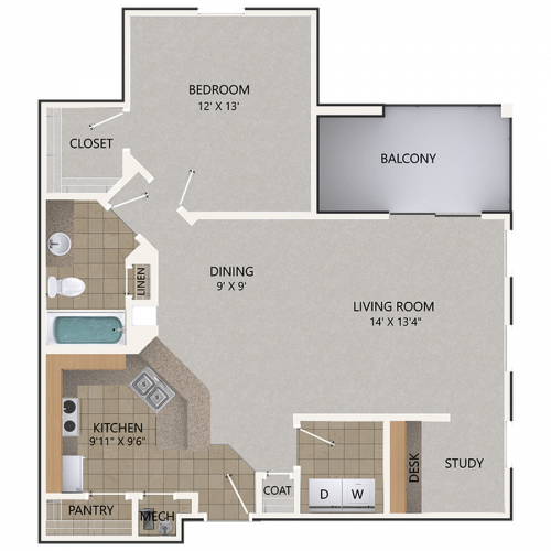 Lacey Oak Floor Plan | 1 Bedroom with 1 Bath | 948 Square Feet | Cottonwood Reserve | Apartment Homes
