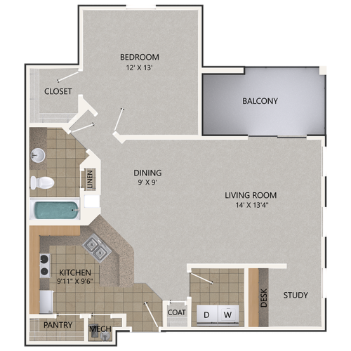 Image of the Lacey Oak floorplan, an open concept 1 bedroom, 1 bathroom 948 sq. ft. apartment at Cottonwood Reserve