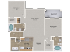 Chestnut Oak Floor Plan | 2 Bedroom with 2 Bath | 1095 Square Feet | Cottonwood Reserve | Apartment Homes