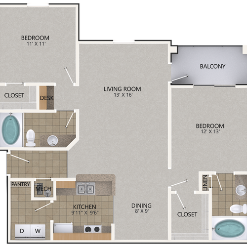 Image of the Chestnut Oak floorplan, an open concept 2 bedroom, 2 bathroom 1,095 sq. ft. apartment at Cottonwood Reserve