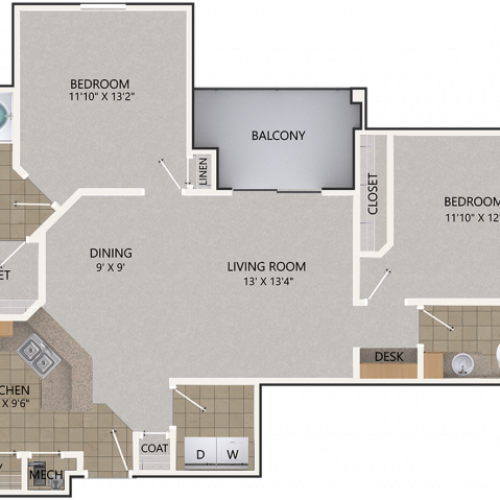 Chinquapin Oak Floor Plan | 2 Bedroom with 2 Bath | 1139 Square Feet | Cottonwood Reserve | Apartment Homes
