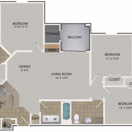 Image of the Willow Oak floorplan, an open concept 3 bedroom, 2 bathroom 1,294 sq. ft. apartment at Cottonwood Reserve