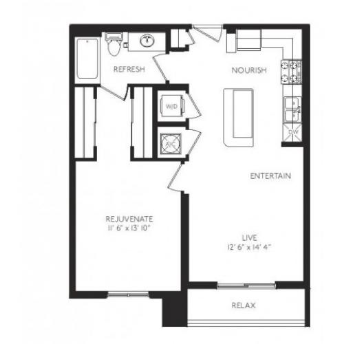 The Animation Floor Plan | 1 Bedroom 1 Bath | 712 Square Feet | Cottonwood Bayview | Apartment Homes