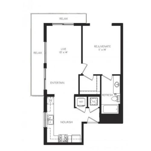 The Cubist Floor Plan | 1 Bedroom 1 Bath | 722 Square Feet | Cottonwood Bayview | Apartment Homes