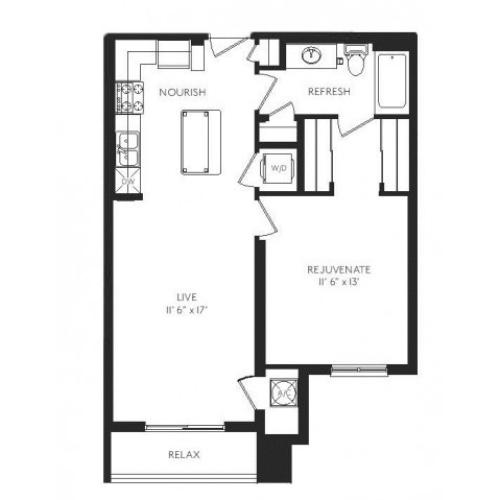 The Deco Floor Plan | 1 Bedroom 1 Bath | 716 Square Feet | Cottonwood Bayview | Apartment Homes
