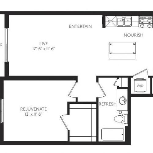 The Gallery Floor Plan | 1 Bedroom 1 Bath | 722 Square Feet | Cottonwood Bayview | Apartment Homes