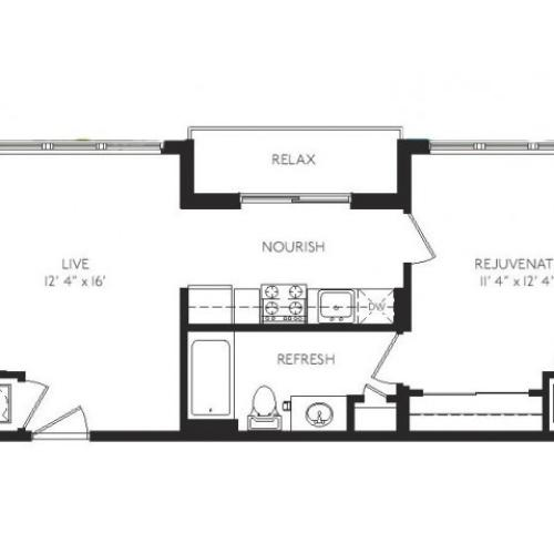 The Impressionist Floor Plan | 1 Bedroom 1 Bath | 602 Square Feet | Cottonwood Bayview | Apartment Homes