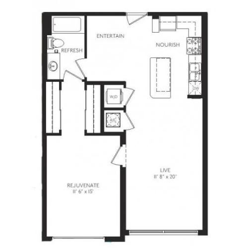 The Modernist Floor Plan | 1 Bedroom 1 Bath | 838 Square Feet | Cottonwood Bayview | Apartment Homes