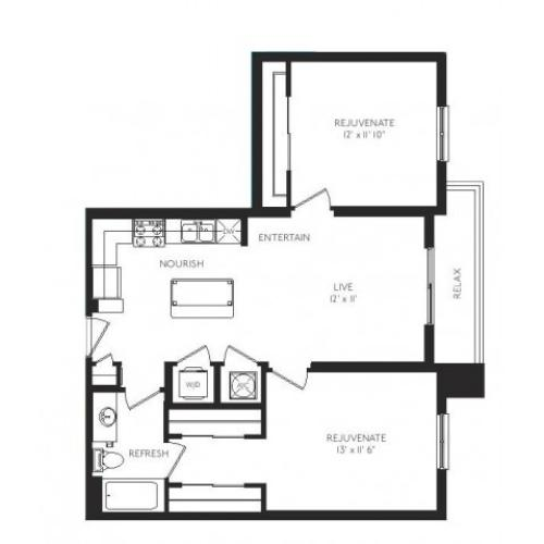 The Baroque Floor Plan | 2 Bedroom 1 Bath | 908 Square Feet | Cottonwood Bayview | Apartment Homes
