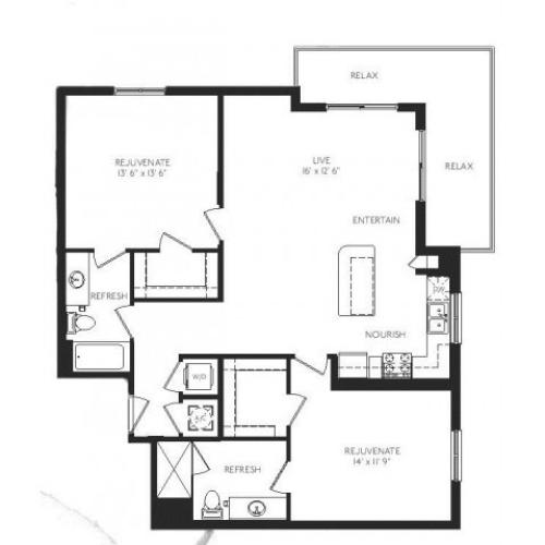 The Murano Floor Plan | 2 Bedroom 2 Bath | 1205 Square Feet | Cottonwood Bayview | Apartment Homes