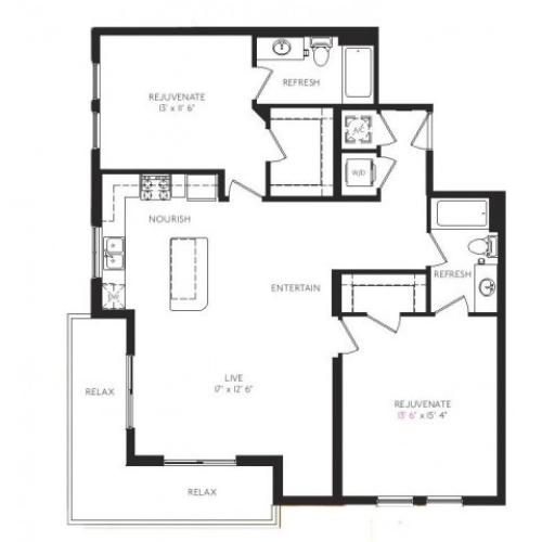 The Mosaic Floor Plan | 2 Bedroom 2 Bath | 1205 Square Feet | Cottonwood Bayview | Apartment Homes