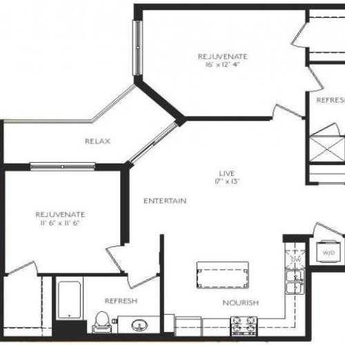 The Realist Floor Plan | 2 Bedroom 2 Bath | 1115 Square Feet | Cottonwood Bayview | Apartment Homes