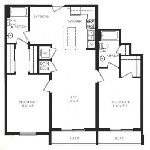 The Salon Floor Plan | 2 Bedroom 2 Bath | 1132 Square Feet | Cottonwood Bayview | Apartment Homes