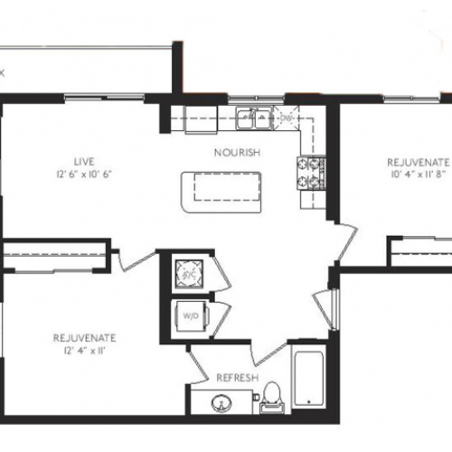 The Surrealist Floor Plan | 2 Bedroom 1 Bath | 830 Square Feet | Cottonwood Bayview | Apartment Homes