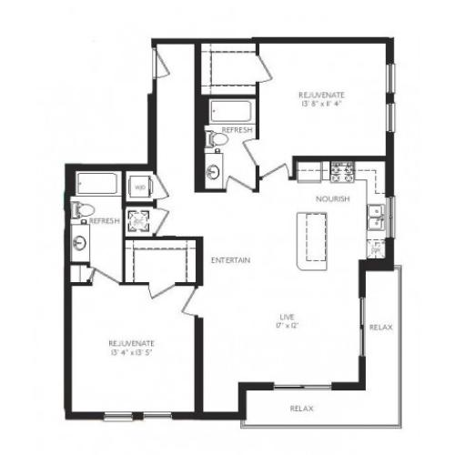 The Tiffany Floor Plan | 2 Bedroom 2 Bath | 1171 Square Feet | Cottonwood Bayview | Apartment Homes