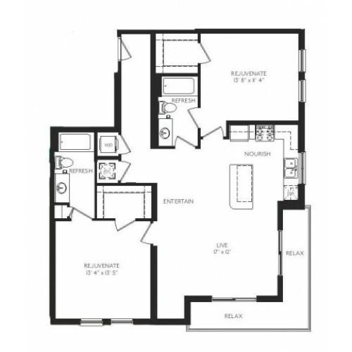The Tiffany Floor Plan | 2 Bedroom 2 Bath | 1171 Square Feet | Cottonwood Bayview | Apartment Homes