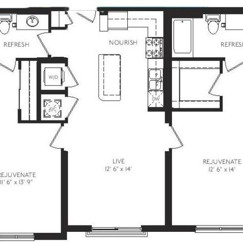 The Venetian Floor Plan | 2 Bedroom 2 Bath | 1076 Square Feet | Cottonwood Bayview | Apartment Homes