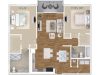 The Giulia Floor Plan | 2 Bedroom 2 Bath | 1185 Square Feet | Cottonwood West Palm | Apartment Homes